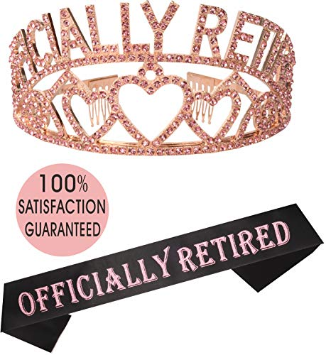 (Pink Officially Retired Retirement Party Set | Officially Retired Tiara/Crown | Retired Sash | I'm Retired! Satin Sash| Retirement Party Supplies, Gifts, Favors and Decorations | Great for)