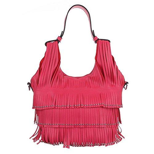 Handtasche Schultertasche mit Fransen Rot Pink
