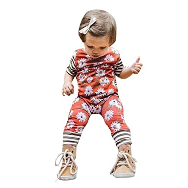 075255d9764a Amazon.com  TiTCool Newborn Kids Baby Girls Shirt Sleeve Flower Striped  Romper Bodysuit Jumpsuit Summer Sunsuit  Clothing