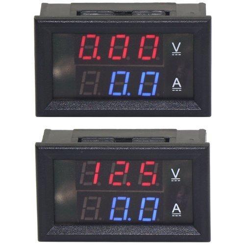 beesclover 0-100V/A Digital DC VA Amp Volt Ammeter Voltmeter Ampere 2in1 Blue Red 2-cloer LED Voltage Current Measure BY BeesClover