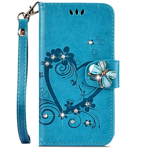 IKASEFU Compatible with iphone 7 Plus/8 Plus Case,Shiny butterfly Rhinestone Emboss Love Pu Leather Diamond Bling Wallet Strap Case with Card Holder Magnetic Flip Cover For iphone 7 Plus/8 Plus,blue
