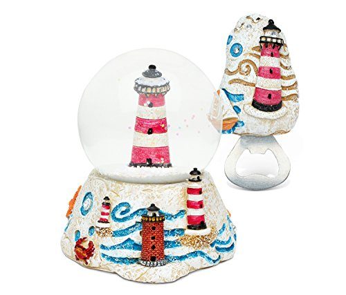 Puzzled Lighthouse Resin Stone Finish Collection including Snow Globe and Magnet Bottle Opener - Unique Elegant Gift and Souvenir