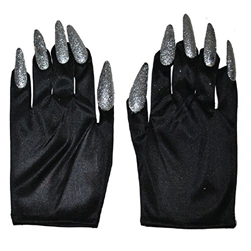 Halloween Costume Witch Nail Gloves, Black with Silver Nails, One-Size, 1 Pair]()