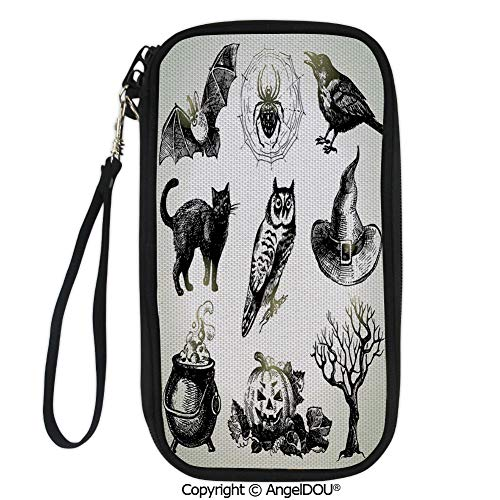 PUTIEN Printed Travel Passport Holder Purse Halloween Related Pictures Drawn by Hand Raven Owl Spider Black Cat Decorative with Double Zipper closure. ()