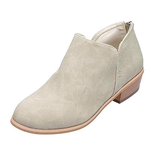 Juleya Botines Cortos para Mujer Invierno Otoño Primavera Bloque Grueso Tacones Apilados Punta Redonda Zip Botines de Tobillo para Dama: Amazon.es: Zapatos ...