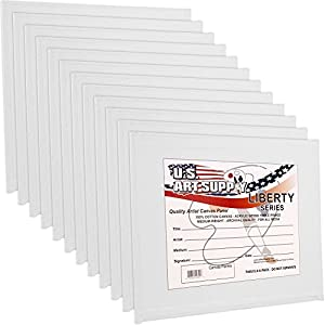 US Art Supply 8 X 10 inch Professional Artist Quality Acid Free Canvas Panel Boards for Painting 12-Pack (1 Full Case of 12 Single Canvas Board Panels)