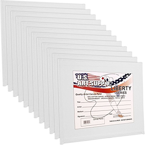US Art Supply 8 X 10 inch Professional Artist Quality Acid Free Canvas Panel Boards for Painting Value Pack of 12 (1 Full Case of 12 Single Canvas Board Panels)