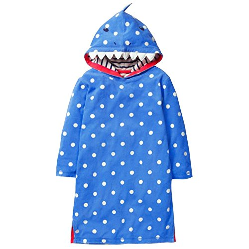 VIKITA 2018 Toddler Girl Dresses Long Sleeve Shark Hoodies for Girls 3-8 Years SMK087 Blue, 5T]()