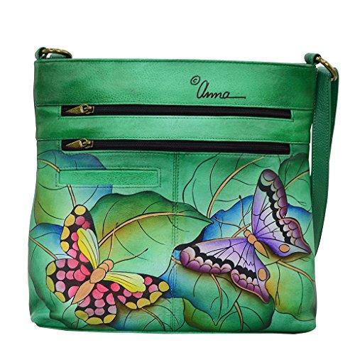 Leather Anna Fob Handbag Medium Bundle Wings Key by Crossbody Organizer Summer Anuschka ZqwEHqF