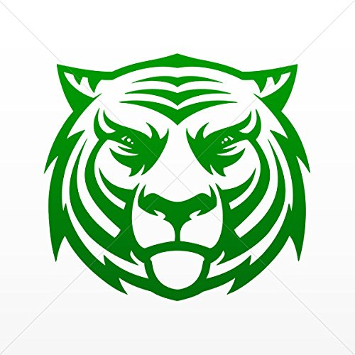 Cats Wild Various sizes Decal Tiger Head Decor Motorbike Bicycle Vehicle ATV car Lap Green Dark (4 X 3.71 Inches)