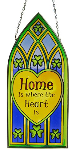 Royal Tara 20cm Stained Glass Hanging Decoration with Shamrock and Home is Where. Design