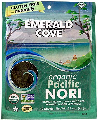 - Emerald Cove Organic Untoasted Nori Sheets Package, Pacific Nori, 0.9 Ounce (Pack of 6)