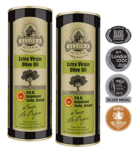 Ellora Farms | Award Winning Extra Virgin Olive Oil | Single Estate Traceable Cretan Olive Oil | Cold Press & Kosher OU | 500ml X 2 Tins | Pack of 2