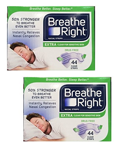 Breathe Right Nasal Strips Extra, Sensative Skin : 88 Clear Strips