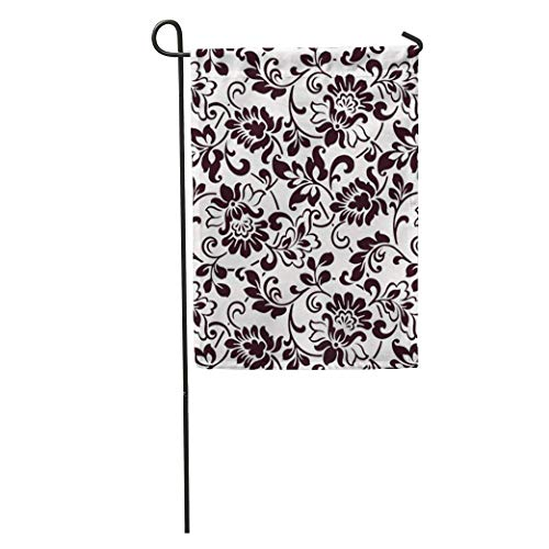 YhouqukehTshirt Garden Flag Pattern Vintage Flower Floral Damask Ottoman Traditional Black Flowery Home Yard House Decor Barnner Outdoor Stand 12x18 Inches Flag