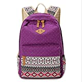 Anseahawk Cute Lightweight Canvas Bookbags School Backpacks for Teen Girls, Purple