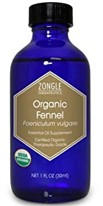 Zongle USDA Certified Organic Fennel Essential Oil, Safe To Ingest, Foeniculum Vulgare, 1 OZ