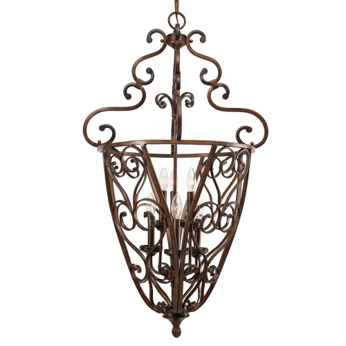 Golden Lighting 4002-CG6 RSB 23-Inch W by 40-Inch H Loretto Caged Foyer, Russet Bronze Finish
