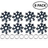 18-in-1 Stainless Steel Snowflakes Multi-Tool, Snowboarding Screwdriver Multi-Tool for Opener Key chain/Bottle Opener/Outdoor Travel Camping/Gift for Men Received before Christmas(8 black)