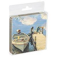 Tree-Free Greetings ECO Coasters Box Set of 4 Drink Coasters, 3.5 x 3.5 Inch, Fishing Boy  (EC52816)