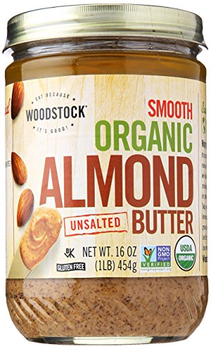 Butter Almond Toasted - Woodstock Smooth Organic Lightly Toasted Almond Butter, Unsalted, 16 oz