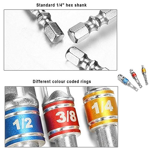 Impact Grade Socket Adapter/Extension Set Turns Power Drill Into High Speed Nut Driver,1/4-Inch Hex Shank to Drive for Adapters to Use with Drill Chucks, Sizes 1/4'' 3/8'' 1/2'', Cr-V, 3-Piece by Regatic (Image #4)