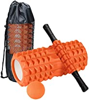 4 in 1 Foam Roller Set, Yoga Roller with Massage Ball and Massage Roller Stick for Deep Tissue Massage, Pain R