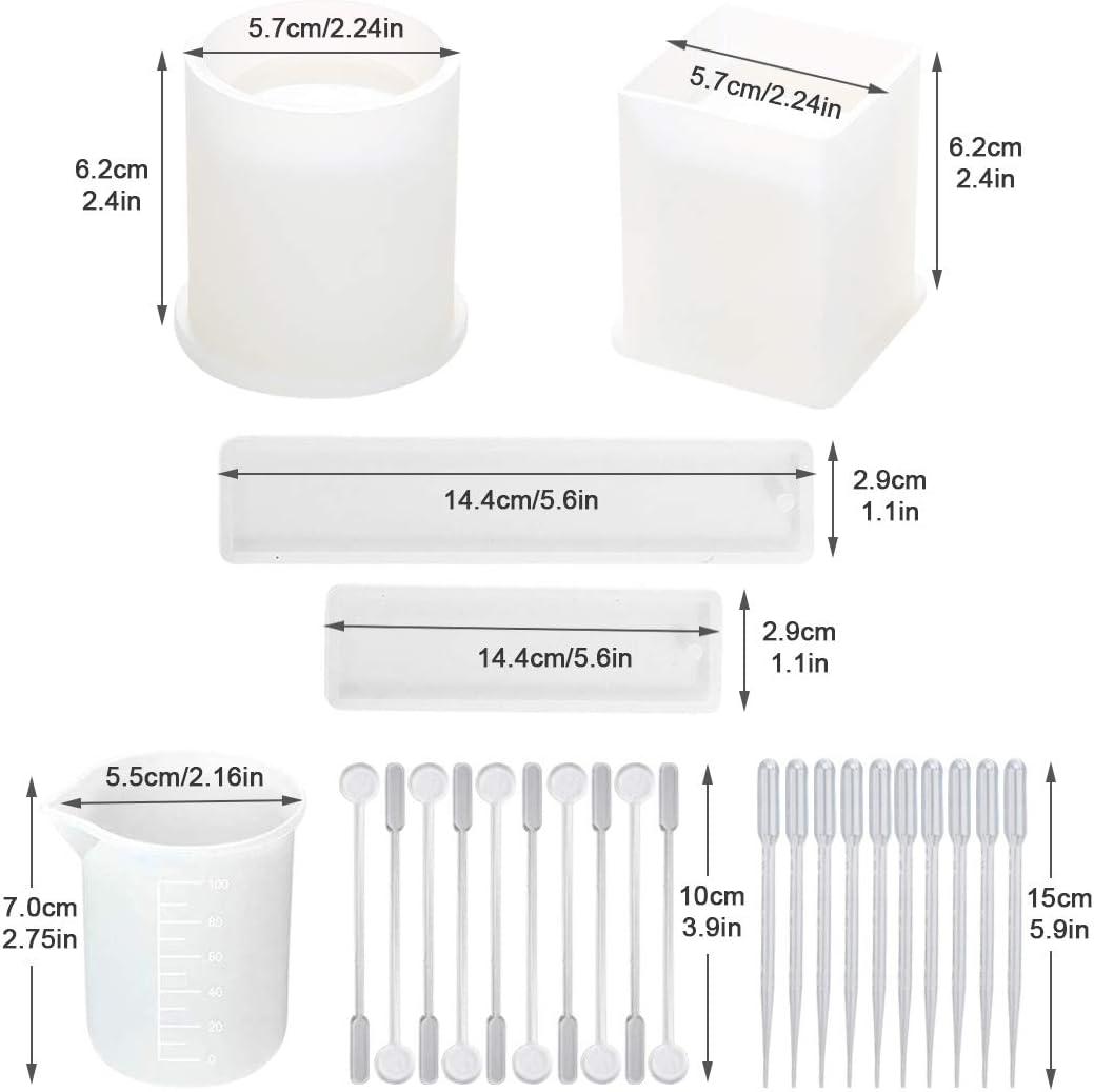 Zylinder,Rechteck,DIY Stifthalter//Lesezeichen//Blument/öpfe Silikonform Gie/ßform Resin DIY Harz Casting Formen Umfassen Sie Quadrat A