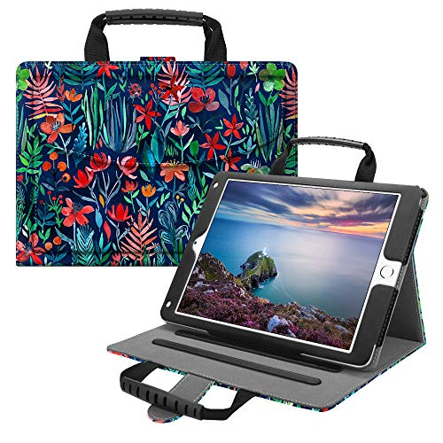 Fintie iPad 9.7 2018/2017, iPad Air 2, iPad Air Handbag Case, Multi-Angle Viewing Stand Cover with Handle, Document Pocket, Auto Wake/Sleep for Apple iPad 6th / 5th, iPad Air 1/2, Jungle Night ()
