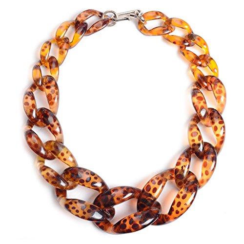 Jewelrydress Women Fashion Acrylic Twist Collar Chunky Choker Statement Chain Necklace (Leopard Skin)