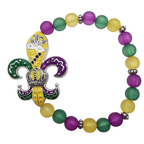 Fleur De Lis Mardi Gras Purple Green Yellow Painted Beaded Stretch Bracelet (Mardi Gras Fashion)