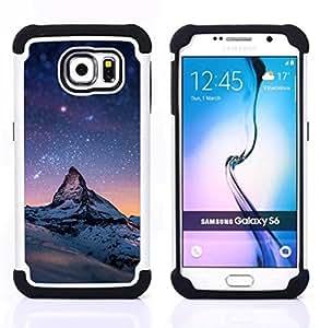 """Samsung Galaxy S6 / SM-G920 - 3 en 1 impreso colorido de Altas Prestaciones PC Funda chaqueta Negro cubierta gel silicona suave (Estrellada Montaña Monte Everest"""")"""