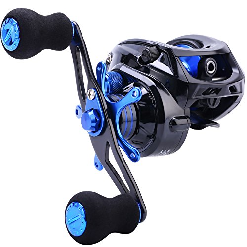 Sougayilang Baitcasting Fishing Reel 7.0:1 Gear - Low Profile Carbon Fiber Drag 9+1 Bearing Dual Magnetic Brakes Fishing Reels (Right)