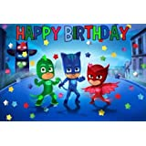 CAKEUSA PJ Masks Happy DecorationBirthday Cake Topper Edible Image 1/4 Sheet Frosting