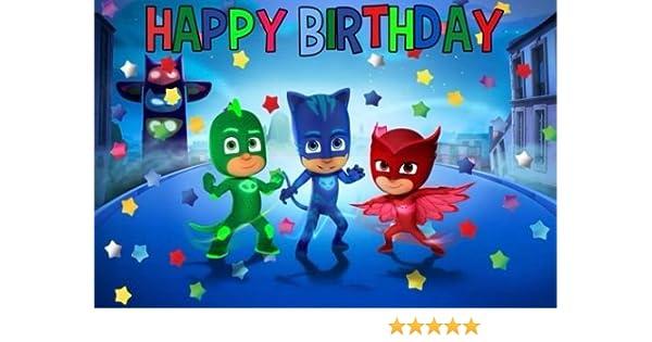 Amazon.com: CAKEUSA PJ Masks Happy DecorationBirthday Cake Topper Edible Image 1/4 Sheet Frosting: Kitchen & Dining