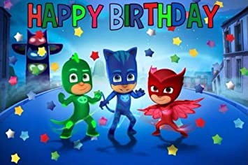 Image Unavailable Not Available For Colour CAKEUSA PJ Masks Happy DecorationBirthday Cake Topper