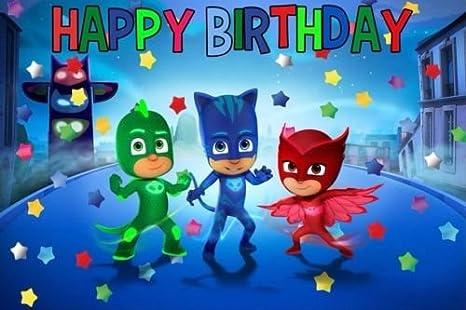 Amazon.com: cakeusa PJ Máscaras Feliz Decoración Cumpleaños ...