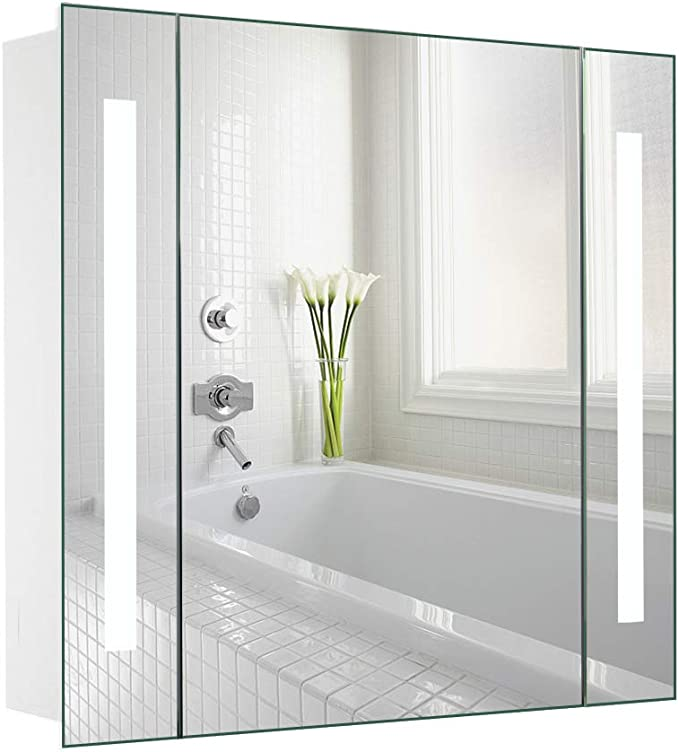 LUXES Bathroom LED Mirror Cabinet with Shaver Socket//Touch Switch//Inside Demister Pad