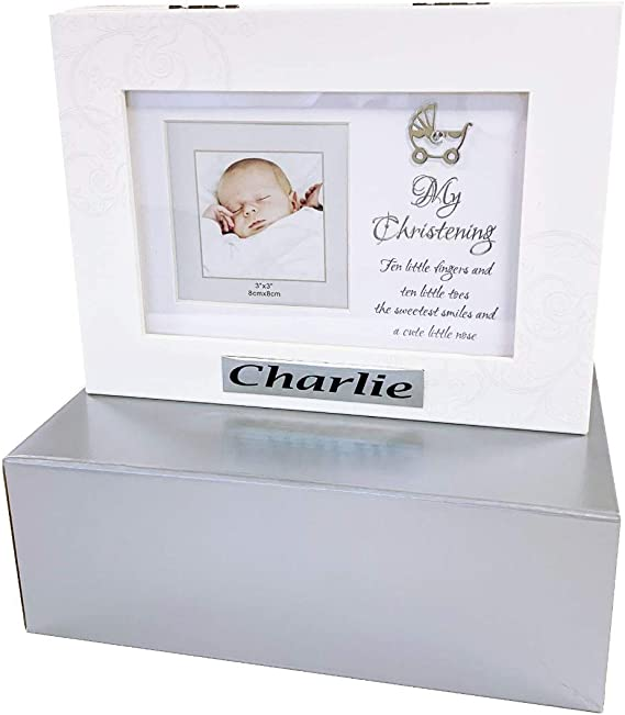 Caja de bautizo personalizable para fotos de bebé, recuerdo de música para niño o niña: Amazon.es: Bebé
