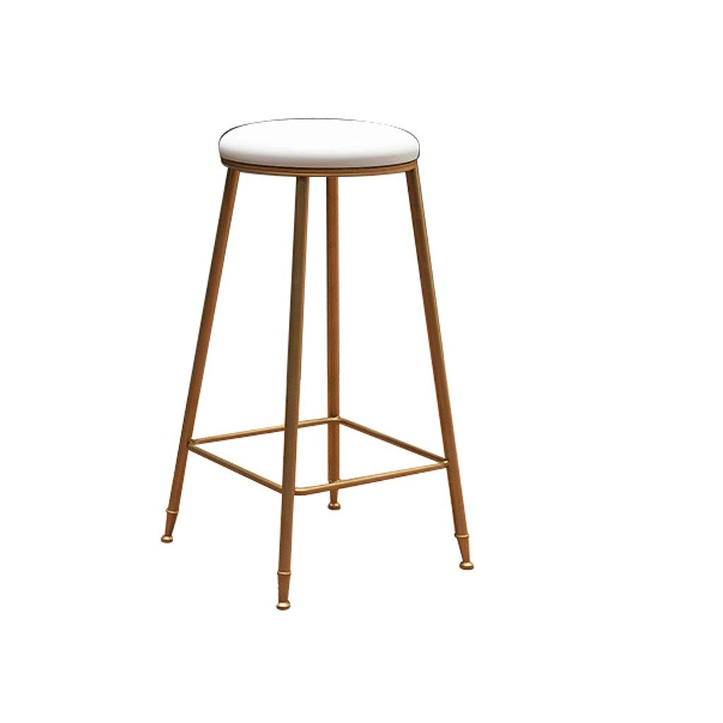 gold Barstools Home Footrest High Stool Seat Kitchen Dining Cafe Restaurant Bar Stool Modern Simple Metal Bar Chair (color   Black)