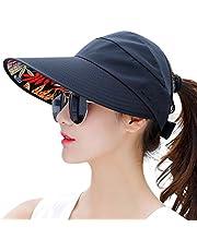 HINDAWI Sun Hat Wide Brim Sun Hats for Women UV Protection Visor Floppy Beach Summer Packable Cap Black