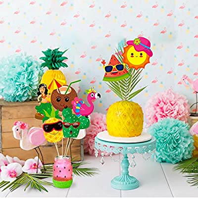 Ticiaga 30pcs Hawaiian Party Centerpiece Sticks, Table Topper for Tropical Party Decoration, Double Sided Cake Topper, Summer Beach Pool Luau Photo Booth Props, Hawaiian Birthday Party Favor Supplies: Toys & Games