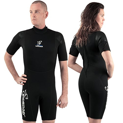 Seavenger 3mm tropical shorty for watersport / diving / snorkeling- All Black Wetsuits Size 9
