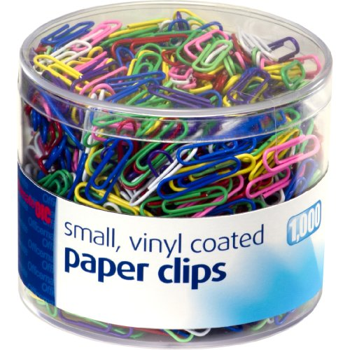 Officemate Vinyl Coated #2 Paper Clips, Assorted Colors, Tub of 1000 (2 Vinyl Paper Clip)