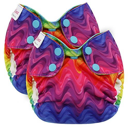 Blueberry Newborn Simplex All in One Cloth Diapers, Bundle of 2, Made in USA (Rainbows)