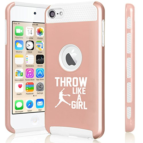 for Apple iPod Touch 5th / 6th Shockproof Impact Hard Soft Case Cover Throw Like A Girl Softball (Rose Gold-White)