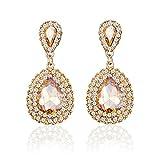 iWenSheng Women Champagne Gold Gold Plated Crystal Double Teardrop Bridal Drop Earrings