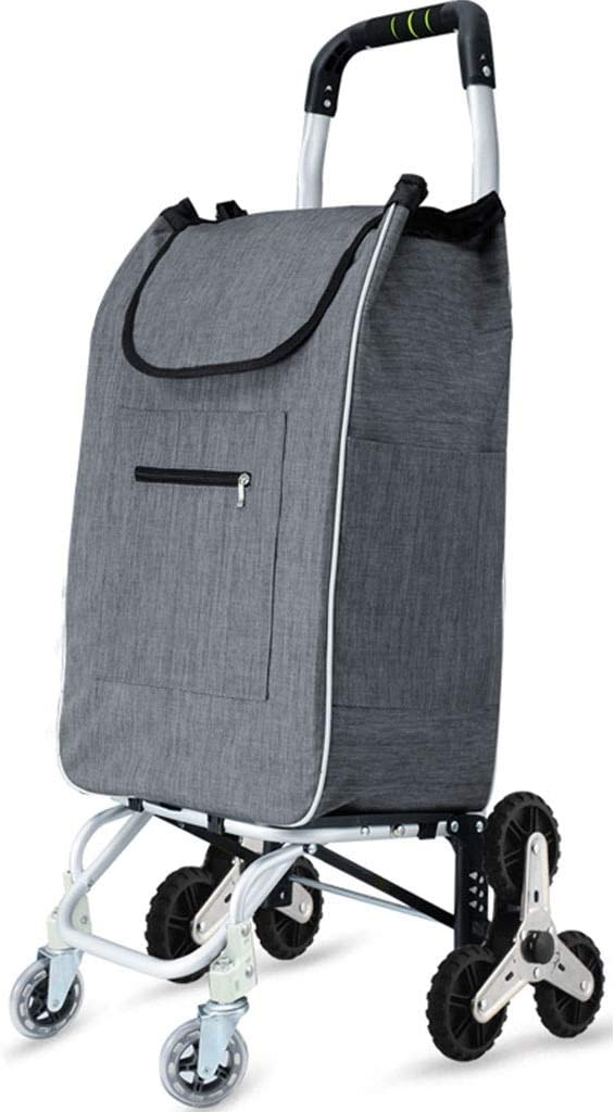 Stair Trolley Stainless Steel Rubber Wheel Color : Navy, Size : 96cm 8 Wheel ECHOV Trolley Bags Shopping Cart,Aluminum Alloy Grocery Cart Thick Waterproof Oxford Cloth