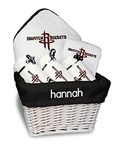 Designs by Chad and Jake Baby Personalized Houston Rockets Medium Gift Basket One Size White