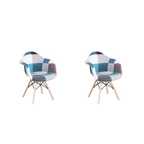 ArtDesign FR 2X Patchwork Sillón Tela de Lino Ocio Sala de Estar Sillas de Esquina Sillas de Recepción (Azul)